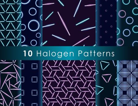 halogen: Set of seamless patterns with halogen or LED light lamps.