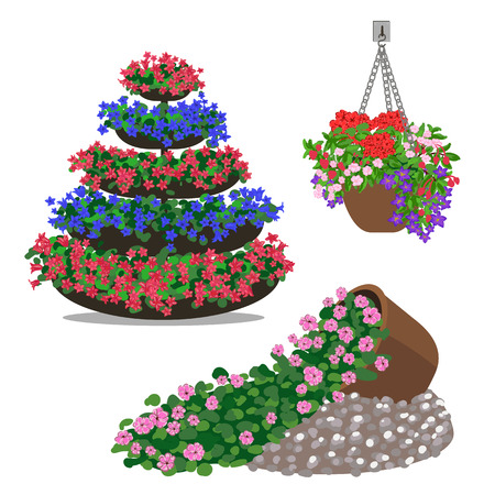 spring bed: Garden landscapes, summer and spring flower bed. Illustration