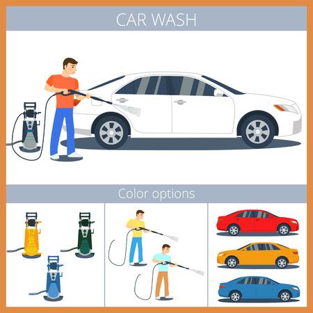 machine à laver: Man laver une voiture avec nettoyeur haute pression. Pulvériser de l'eau du tuyau.