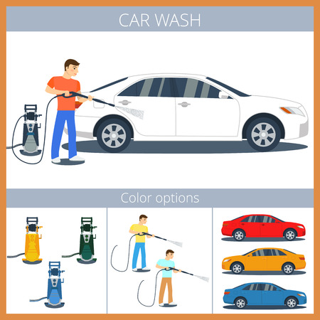 pressure: Man washing a car with high pressure washer. Spraying water from the hose. Illustration