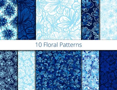 Blue flower patterns set, pattern fills, web page background, surface textures