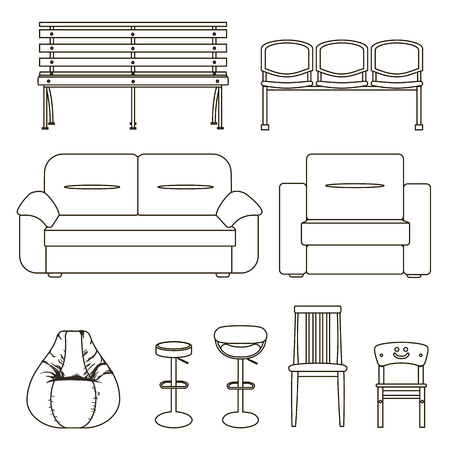 upholstered: Icon set of modern furniture chair and sofa