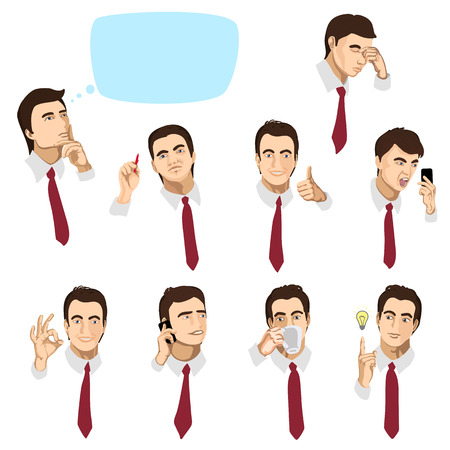 describe: Set of portraits of a businessman with different emotions and actions Illustration