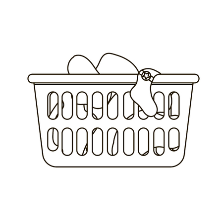 dirty clothes: Thin line icon of loundry basket with dirty clothes. Black and white Illustration