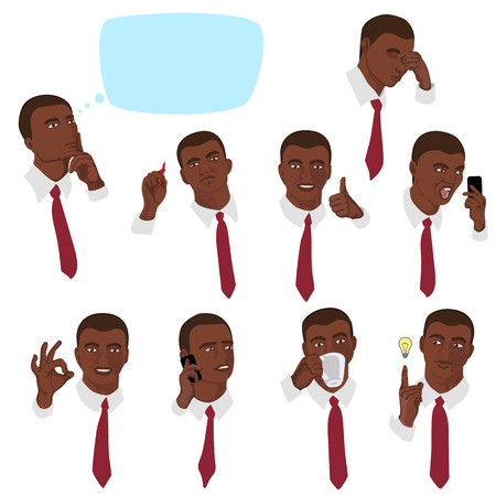 describe: Set of portraits of a businessman with different emotions and actions. Afroamerican Illustration