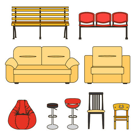 divan: Colorful set of seats. Icon set of modern furniture chair and sofa . Vector. Illustration