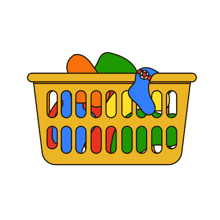 dirty clothes: Thin line icon of loundry basket with dirty clothes