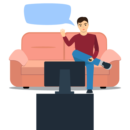 outrage: illustration of a man on sofa