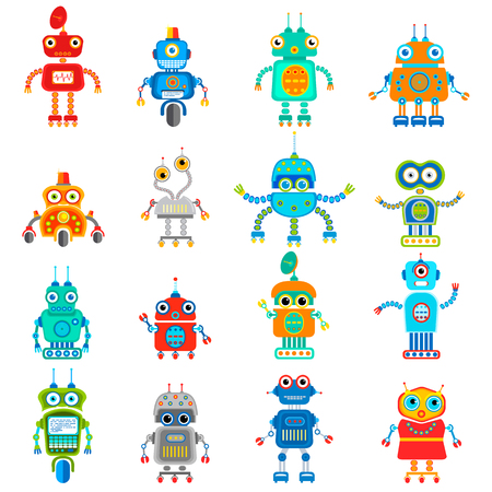set of retro robots in flat style, vintage cute robots. Toy robots