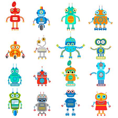 set of retro robots in flat style, vintage cute robots. Toy robots
