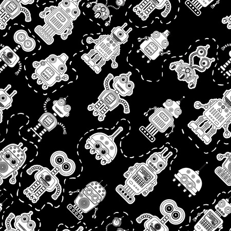 uptrend: Seamless pattern with cute vintage robots. Black and white background with retro robots.