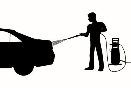 manguera: Silueta del hombre que lava un coche con limpiador de alta presión. La pulverización de agua de la manguera. Ejemplo blanco y negro de lavado de coches.