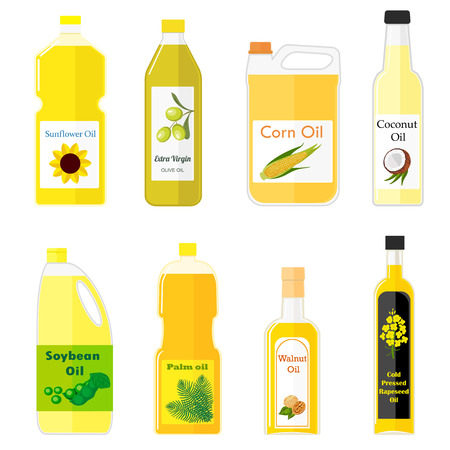 zbiór zdjęć z różnych rodzajów oleju do gotowania. Kolorowe ilustracje w stylu płaskiej. Grupa butelki oleju do smażenia