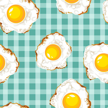 luncheon: Seamless pattern with fried eggs. Bright colors, rich picture.
