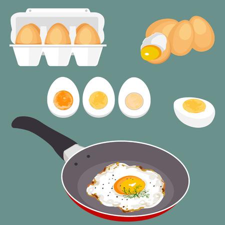 Illustrazione vettoriale colorato di uova. Set di cottura e uova fresche. Guscio d'uovo e proteine. alimenti biologici sano. prodotto di dieta con proteine. uova cartone animato rotte crude con tuorli.