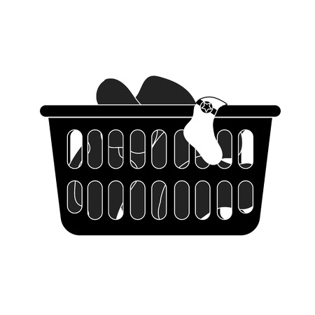 dirty clothes: Modern style icon of loundry basket with dirty clothes Illustration