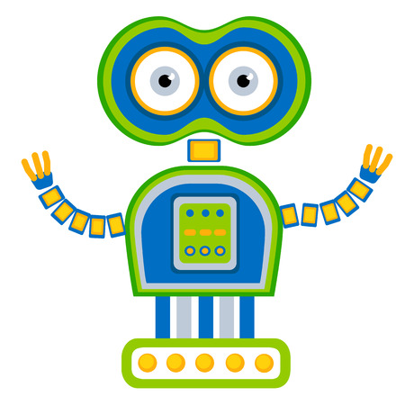 toys clipart: Colorful Toy robot. Vector character. Cartoon colorful illustration Illustration