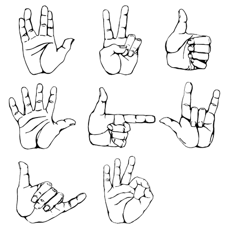 hi five: Hand gestures and sign language icon set. Isolated contour illustration of vector human hands. Contour hands vector collection-accuracy sketching of hand gestures-color version at my gallery