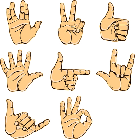 hi five: Hand gestures and sign language icon set. Isolated colorful illustration of vector human hands. Colorful hands vector collection-accuracy sketching of hand gestures - contour version at my gallery Illustration