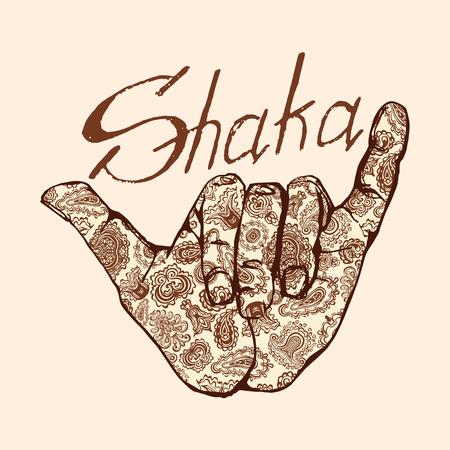 sumbol: Vector shaka surfers hand in in Indian henna tattoo style.