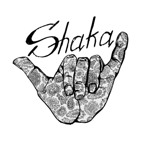 hand sign: Vector shaka surfers hand in vintage style