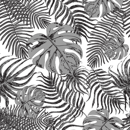 exotic plant: Vector endless background with graphic illustrations exotic leafs. Strong black and white leaves of exotic monstera plant and palm tree. Retro style illustration.