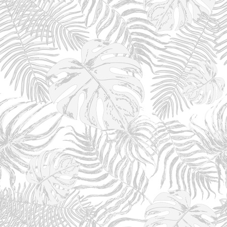 Vector endless background with graphic illustrations exotic leafs. Strong pale leaves of exotic monstera plant and palm tree. Retro style illustration. Ilustração