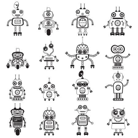 funny robot: Robot icons, mono vector symbols.