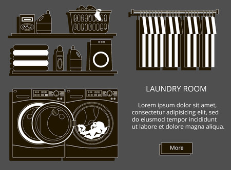 powder room: Laundry room with washing machine, facilities for washing, washing powder. Modern style vector illustration.