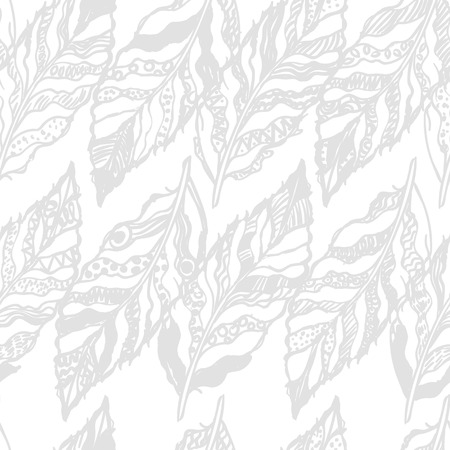 paper textures: Seamless pattern with graphic illustration of feathers. Can be used for wallpaper, pattern fills, web page background, surface textures, textile print, wrapping paper Illustration
