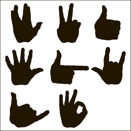 hi five: Hand gestures and sign language icon set. Isolated silhouette illustration of vector human hands. Silhouette hands vector collection-accuracy sketching of hand gestures-color version at my gallery