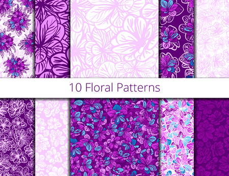 lilac flower: Vector set of seamless patterns with purple flowers. Lilac flower vector patterns set, pattern fills, web page background, surface textures. textile print