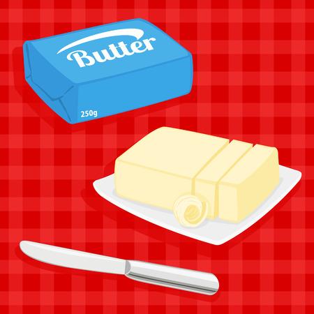 colorida ilustración de la mantequilla de barras en la placa