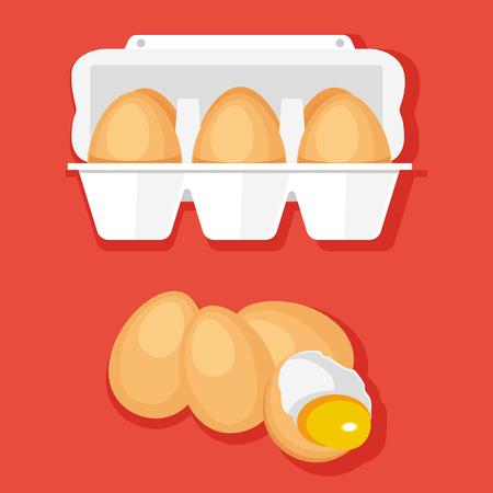 dozen: colorful illustration of fresh eggs in container Illustration