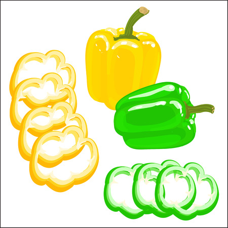 chopped: Colorful illustration of bell pepper on a white background. Chopped yellow and red bell pepper.