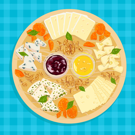 parmesan: Colorful illustration of wooden cheese plate with sauce and honey on the tablecloth