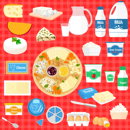 processed food: Colorful set of cartoon food dairy products, milk and farm products