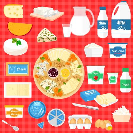Conjunto de colores de los productos lácteos alimenticia de la historieta, leche y productos agrícolas Foto de archivo - 59026783