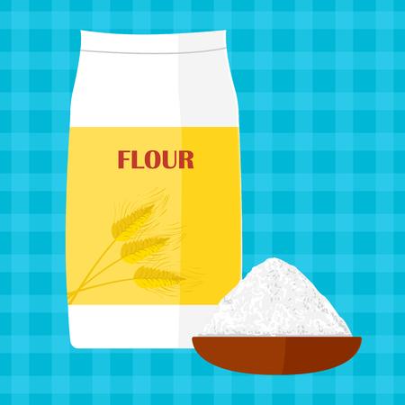 bolsa de pan: Ilustración colorida del paquete de harina. Hornear y cocinar los ingredientes. alimentos orgánicos saludables. de dibujos animados de harina. Cocinar la pasta. producto orgánico.