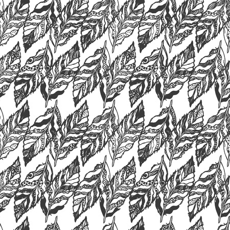 fascinated: Vector black and white seamless abstract background with feathers. Can be used for wallpaper, pattern fills, web page, surface textures, textile print, wrapping paper. Coloring page
