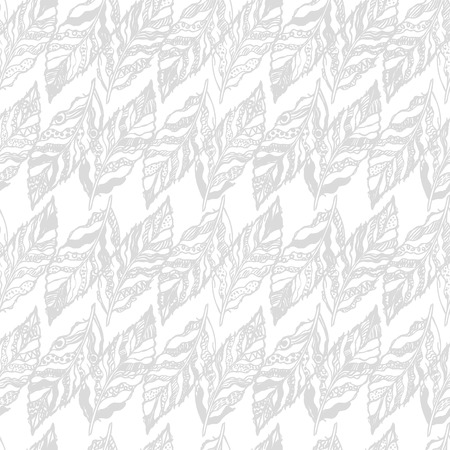 faded: Vector gray seamless abstract background with feathers. Can be used for wallpaper, pattern fills, web page, surface textures, textile print, wrapping paper.