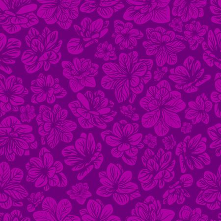 ピンクと紫の花でカラフルなシームレスな背景。