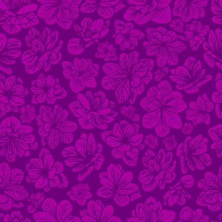 Colorful seamless background with pink and purple flowers.
