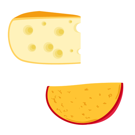 Colorful vector illustration of two pieces cheese different varieties