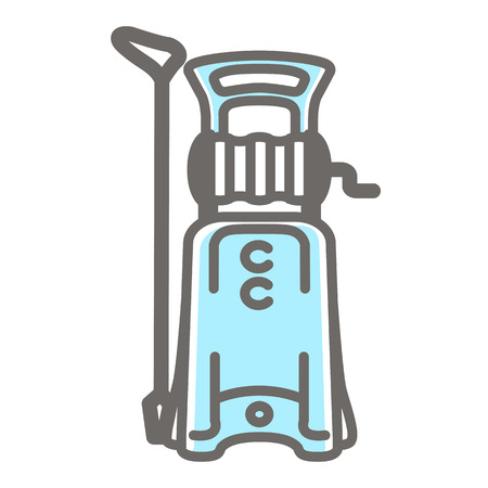 Vector colorful illustration of high pressure washer isolated on white background.