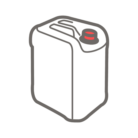 quid: Vector colorful illustration of jerrycan isolated on white background.