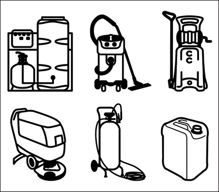Black and white set outline icon of cleaning equipment Illustration