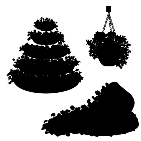 set of black silhouette plants, flowers and floral arrangements Illustration