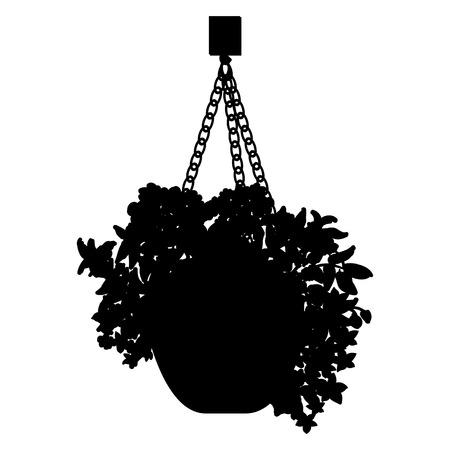 creeping plant: black silhouette illustration of hanging pot with flowers. Floral arrangement. Illustration
