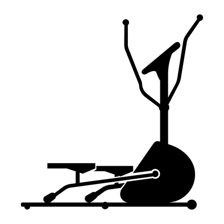 elliptical: black silhouette icon of elliptical cross trainer isolated on white background